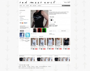 E-commerce t-shirt shop website design Melbourne