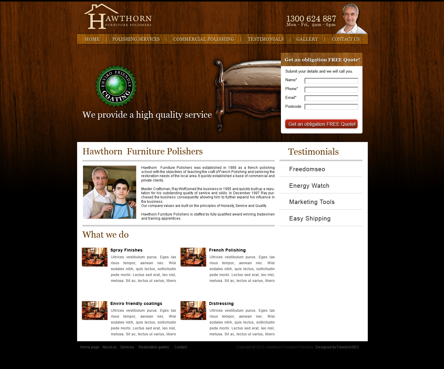 Furniture polishing website design Melbourne